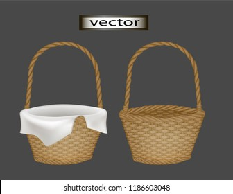 Vector illustration of a wicker basket with a white napkin inside a bed towel to put a gift or an empty flower basket