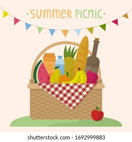 Vector illustration of a wicker picnic basket with a blanket. Basket with food, drinks and a garland of flags. Flat style. Isolated white background and text.