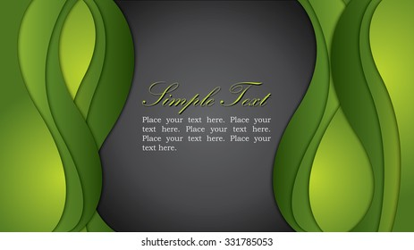 Vector illustration of widescreen green waves background