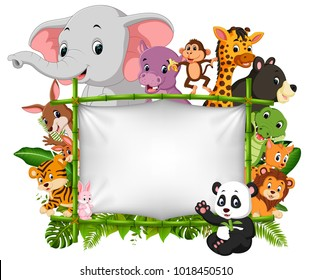 vector illustration of wild animal standing on a bamboo frame