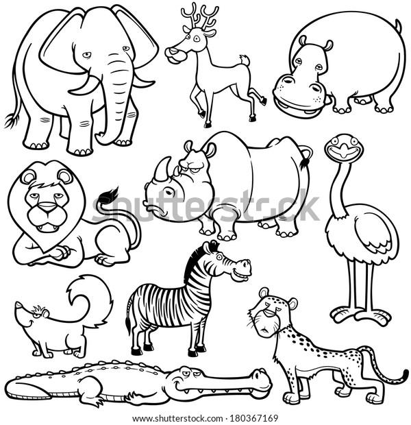 - Vector Illustration Wild Animals Cartoons Coloring Stock Vector (Royalty  Free) 180367169