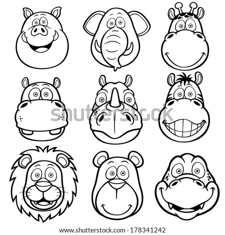 cartoon critters offers coloring pages | Vector Illustration Wild Animals Faces Cartoons Stock ...