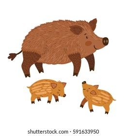 Vector illustration of wild boar with babies. Cute hand drawing animals are isolated on white. Smiling cartoon characters.