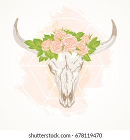 Vector illustration with a wild buffalo skull and roses, in the boho style. On a watercolor decorative background. Hand drawn graphic. For t-shirts, posters and other your design.