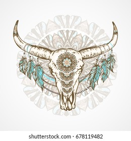 Vector illustration with a wild buffalo skull with feathers and decorative patterns, in the boho style. On a decorative round background. Hand drawn graphic. For t-shirts and other your design.