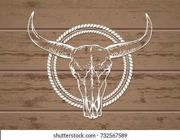 Vector illustration with a wild buffalo skull on a wooden background. White silhouette with round frame. For t-shirts, posters and other your design.