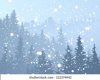 Vector illustration of wild coniferous forest with snowfall in blue tone.