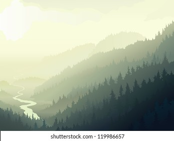Vector illustration of wild coniferous wood with river in a morning fog.