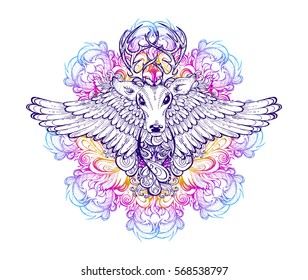 Vector illustration of a wild deer with wings on a background of ethnic mandala. Tattoo totem animal. Decorative print on a T-shirt, cover, poster or card.