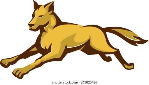 vector illustration of a wild dog wolf jumping viewed from front side done in retro style on isolated white background.