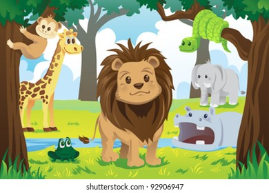 A vector illustration of wild jungle animals in the animal kingdom
