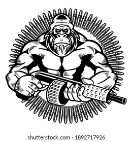 Vector illustration of wild monkey with machine gun in a retro style. Angry gorilla holding guns with silencers isolated on white background. Wild animals concept in cartoon style. T-shirt design