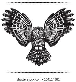 Vector illustration of wild totem animal - Owl