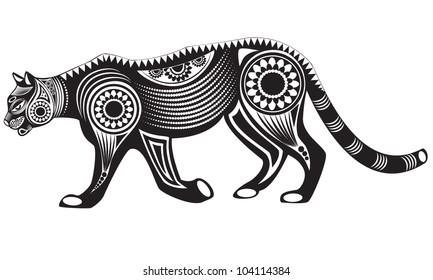 Vector illustration of wild totem animal - Mountain Lion (Puma)