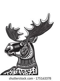 Vector illustration of wild totem animal - Moose
