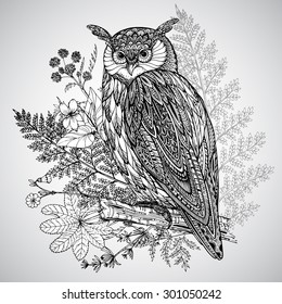 Vector illustration of wild totem animal - Owl in ornamental graphic style with watercolor background