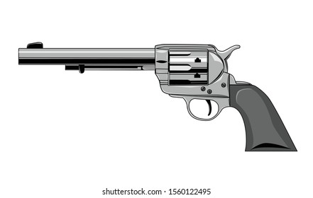Vector illustration - wild west revolver gun