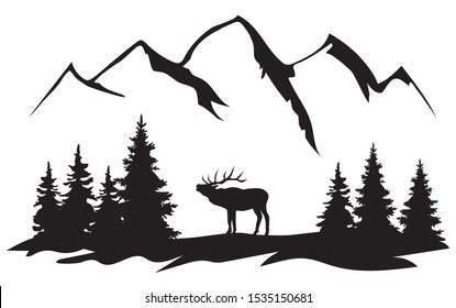 vector illustration of wilderness landscape with elk, mountains and trees silhouette.