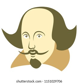 Vector illustration of William Shakespeare in cartoon style on an isolated white background