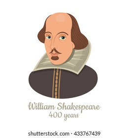 Vector illustration of William Shakespeare portrait isolated on white background