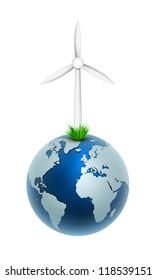 Vector illustration of a wind generator on globe world. Part of free energy set.