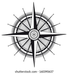 Vector illustration of wind rose in black and white color