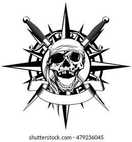 Vector illustration wind rose and pirate sign skull with crossed daggers
