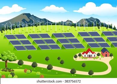 A vector illustration of wind turbines and solar panels farm