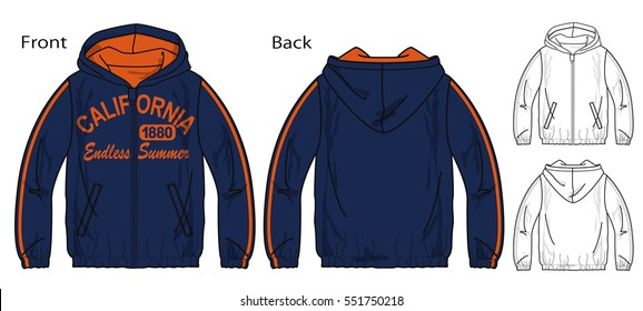Vector illustration of windbreaker for a zipper. Front and back views