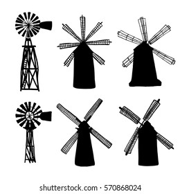 vector illustration; windmill  or windpump symbol; isolated on a white background, silhouette; contour; outline; in ink, hand drawn, sketched style;