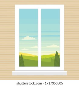 Vector illustration of a window. Cartoon flat drawing window view of a green landscape with trees.