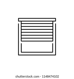 Vector illustration of window horizontal blind. Line icon of sun protection shade. Room darkening & light blocking  jalousie. Isolated object on white background.