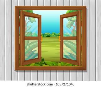 vector illustration of window to nature scene