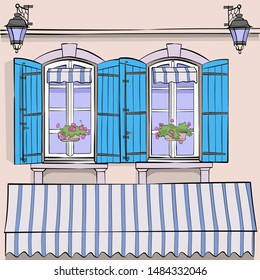Vector illustration of windows with blue shuttered potted flowers and lanterns.