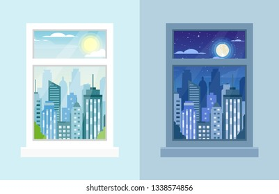 Vector illustration of windows with day and night city landscapes, city view, City Urban Skyline, clouds, sun, tower, buildings, windowsill in flat cartoon style. Window day time view background.