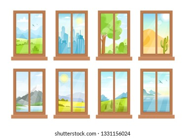 Vector illustration of windows with landscapes, city view, clouds, sun, mountains, sea, desert, field, garden, lake, nature, windowsill in flat cartoon style.  Window day time view background.