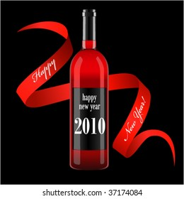 vector illustration wine bottle with blank label and ribbon