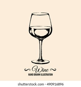 Vector illustration of wine glass made in hand drawn vector style isolated. Template for business card banner and poster