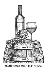 Vector illustration of a wine still life. Bottle, glass and a bunch of grapes on the wooden barrel. Hand drawn vintage engraving style.