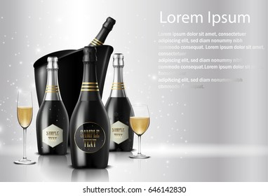 Vector illustration of  Wineglass with a bottle of champagne in a bucket on sparkling background