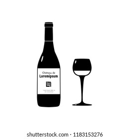 Vector illustration of wineglass, bottle and sticker with text