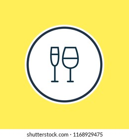 Vector illustration of wineglass icon line. Beautiful party element also can be used as champagne icon element.