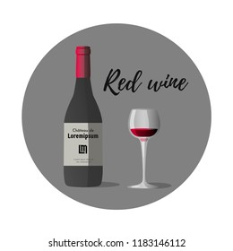 Vector illustration of wineglass with red wine and dark grey wine bottle, red cap and sticker with text