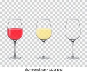 Vector illustration of wineglass with red, yellow wine on transparent background.