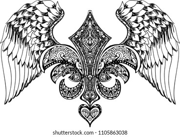 Vector illustration of winged royal lily and heart. Hand drawn retro tattoo flying royal lily. Ornate graphic print, fashion drawing for t-shirts. Vector stickers,print, patches vintage