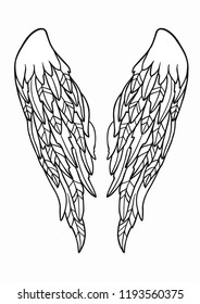 Vector illustration wings. Wings isolated on white background. Pair of spread out bird or angel wings.