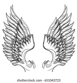 Vector illustration of wings, isolated on white background. Design element for emblem, sign, vintage style posters and more.