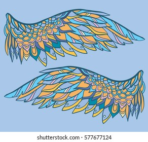 vector illustration with wings on blue background