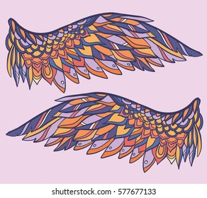 vector illustration with wings on pink background