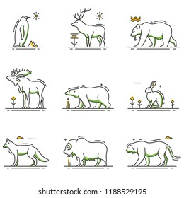 A vector illustration of Winter Animals Cartoon in Outline Set